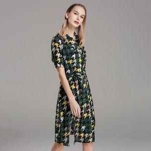 Green and yellow long straight waist slim dress